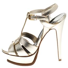Saint Laurent Paris Metallic Gold Leather Tribute Platform Ankle Strap Sandals Size 37 245650