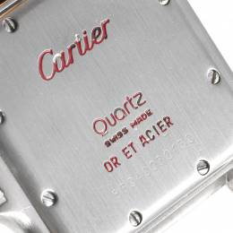 Cartier White 18K Yellow Gold Stainless Steel Panthere W25028B8 Men's Wristwatch 26x36 MM 245342
