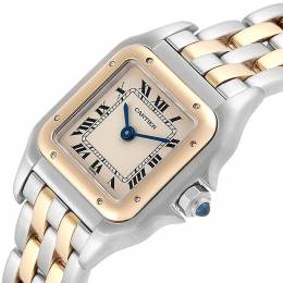 Cartier White 18K Yellow Gold Stainless Steel Panthere W25029B6 Women's Wristwatch 22x22 MM 245345