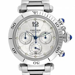 Cartier Silver Stainless Steel Pasha Seatimer Chronograph W31030H3 Men's Wristwatch 38 MM 245346