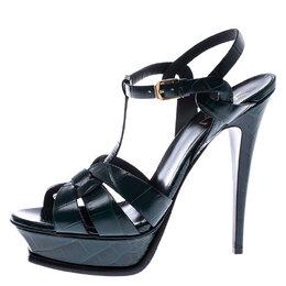 Saint Laurent Paris Green Croc Embossed Leather Tribute Platform Ankle Strap Sandals Size 40.5 245742