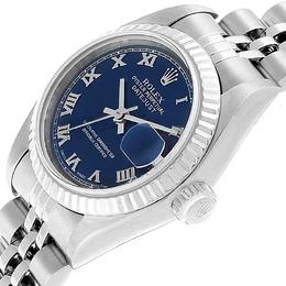 Rolex Blue 18K White Gold Stainless Steel Datejust 79174 Women's Wristwatch 26 MM 245524