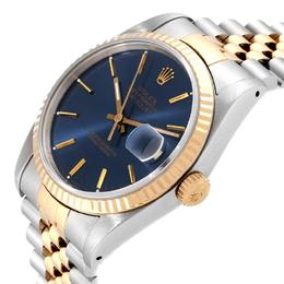 Rolex Blue 18K Yellow Gold Stainless Steel Datejust 16233 Men's Wristwatch 36 MM 245528