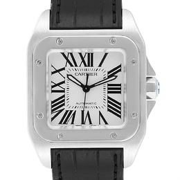 Cartier White Stainless Steel Santos 100 W20106X8 Men's Wristwatch 33x33MM 245352