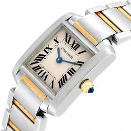 Cartier White Stainless Steel Tank Francaise W51007Q4 Women's Wristwatch 20x25 MM 245359