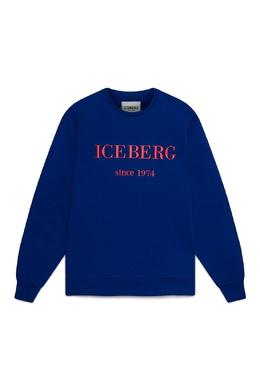 Синий свитшот с логотипом Iceberg 1214165989