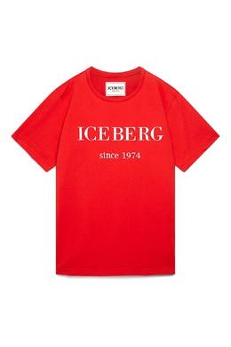 Красная футболка с белым логотипом Iceberg 1214165985