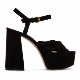 Gianvito Rossi Black Suede Twisted 70 Heeled Sandals 201090F12502605GB