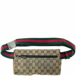 Gucci Brown/Tan Monogram Canvas Shelley Belt Bag 246404