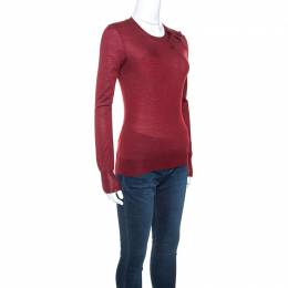 Louis Vuitton Burgundy Cashmere and Silk Blend Bow Detail Sweater S