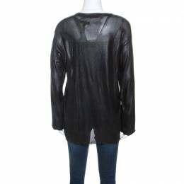 T By Alexander Wang Black Coated Knit Long Sleeve Top L 243861