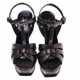 Saint Laurent Paris Metallic Grey Foil Leather Tribute Platform Ankle Strap Sandals Size 38 245424
