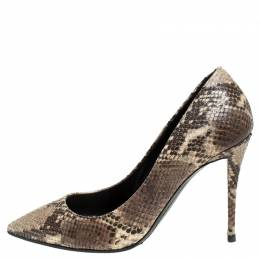 Giuseppe Zanotti Design Brown/Beige Python Embossed Leather Pointed Toe Pumps Size 39