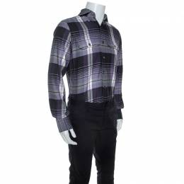 Tom Ford Purple Checked Pattern Cotton Woven Shirt M 244389