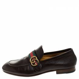 Gucci Brown Leather GG Marmont Web Slip On Loafers Size 42.5