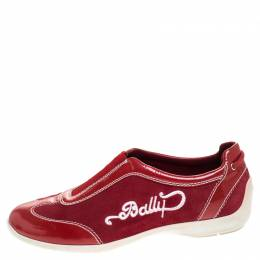 Bally Red Suede And Patent Leather Slip On Sneakers Size 36
