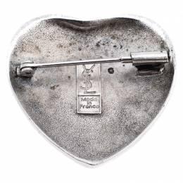 Saint Laurent Paris Blue Crystal Sterling Silver Heart-Shaped Brooch