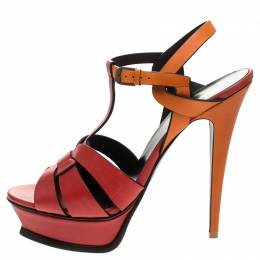 Saint Laurent Paris Red/Orange Leather Tribute Platform Ankle Strap Sandals Size 41.5 245419
