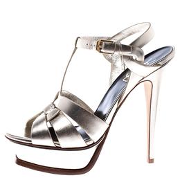 Saint Laurent Paris Metallic Gold Leather Tribute Platform Sandals Size 38 245756