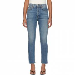 Re/Done Blue High-Rise Ankle Crop Jeans 201800F06901804GB