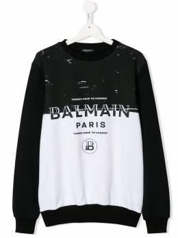 Balmain Kids толстовка с контрастной вставкой 6M4510MA010