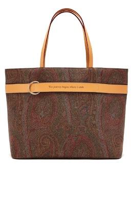 Коричневая сумка с узорами и отделкой Etro 907158821