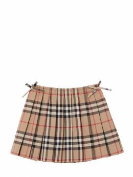 Pleated Check Cotton Muslin Skirt Burberry 71I937039-QU5JUVVFWUVMTE9X0