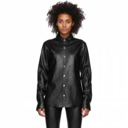 T By Alexander Wang Black Faux-Leather Snap Shirt 201214F10906202GB