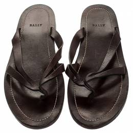 Bally Brown Leather Thong Flat Sandals Size 43 246408
