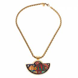 Frey Wille Hommage à Hundertwasser Street Rivers Fire Enamel Gold Plated Half Moon Pendant Necklace 246323
