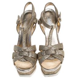 Saint Laurent Paris Metallic Gold Glitter Leather Tribute Platform Sandals Size 35.5 246559