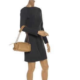 Chanel Beige Lambskin Leather Lax Accordion Shoulder Bag 243819