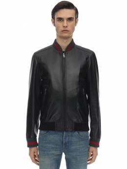 Leather Jacket W/ Web Detail Gucci 71IXBO019-MTA2MA2