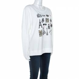 Karl Lagerfeld White Paris Sketch Cotton Embellished Sweatshirt M