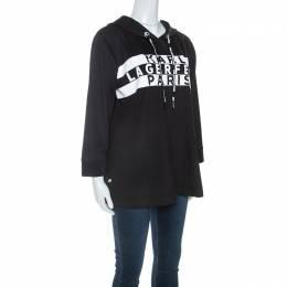 Karl Lagerfeld Black Logo Print Scuba Jersey Hoodie M