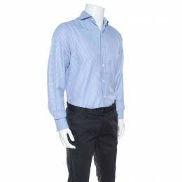 Tom Ford Blue Textured Houndstooth Checked Cotton Button Front Shirt M 245165