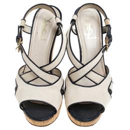 Yves Saint Laurent White/Blue Canvas Deauville Cork Wedge Slingback Sandals Size 39 245197