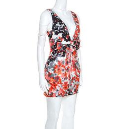 Red Valentino Multicolor Printed Silk Bow Detail Sleeveless Mini Dress S 245740