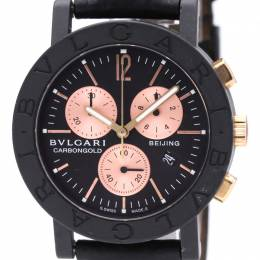 Bvlgari Black 18K Pink Gold and Leather Chronograph BB38CLCH Women's Wristwatch 38MM 242318