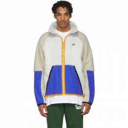 Nike White and Blue Sherpa Jacket 201011M18011504GB