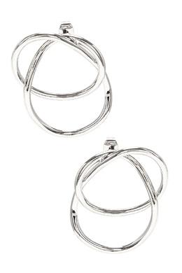 Серебристые серьги-кольца с переплетением Aqua 2203166029