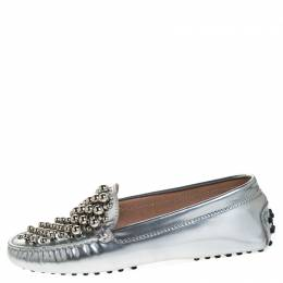 Tod's Metallic Silver Leather Gommini Bolle Embellished Loafers Size 36.5 Tod's