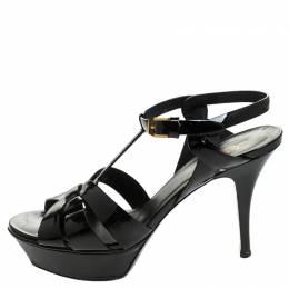 Saint Laurent Paris Black Patent Leather Tribute Platform Sandals Size 38.5 247323