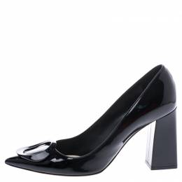 Dior Black Patent Leather Ovale Block Heel Pumps Size 39.5 247088