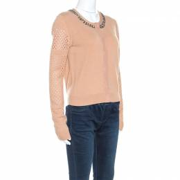 Diane Von Furstenberg Camel Wool Blend Perforated Sleeve Detail Donna Cardigan M 245869