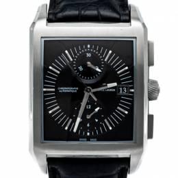 Maurice Lacroix Black Pontos Rectangular Stainless Steel Men'S Watch 40MM 248013