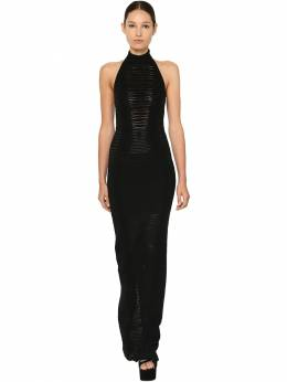 Cotton Blend Knit Long Dress Balmain 71IL5Z079-MFBB0