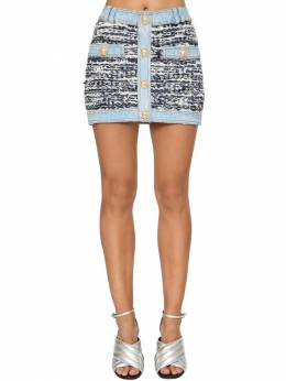 Stretch Tweed & Denim Mini Skirt Balmain 71IL5Z046-R0FF0