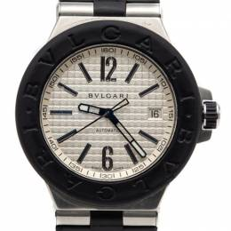 Bvlgari White Dial Diagono Stainless Steel & Rubber Bezel Automatic Watch 40MM 248131