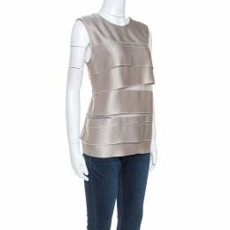 Gianfranco Ferre Beige Satin Tiered Sleeveless Top L 246303